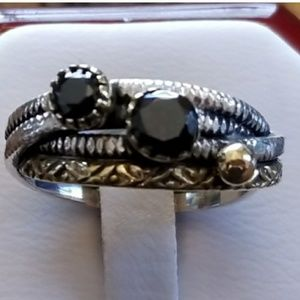 Two Tone Faceted Black Spinel Ring Size 8